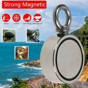 120kg Salvage Strong Recovery Magnet Neodymium Hook Treasure Hunting Fishing New