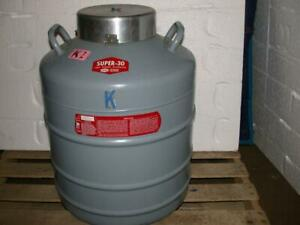Linde Super 30 Liquid Nitrogen Dewar With 10 Canisters Cryogenic Tank Vessel