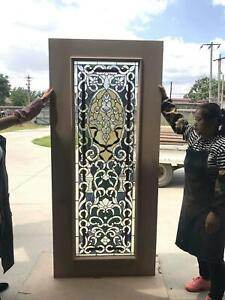 Hand Made Stained Glass Estate Interior Or Exterior Jeweled Thermo Door Jb21 A
