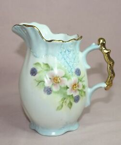 Antique Milk Pitcher England Porcelain Embossed Hand Painted Signed R Falles