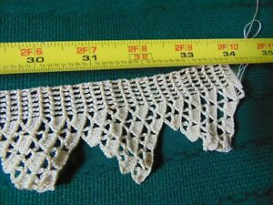 34 X 2 Antique Vintage Pointed Ecru Hand Crocheted Lace Edging Trim