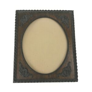 Vintage Wood Picture Frame Rectangle Oval Opening Embossed Carved Molding Border