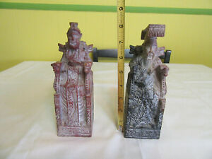 Antique Chinese Soap Stone Soapstone Carved Pair Emperor Emperess Estate Find