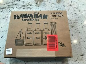 Hawaiian Shaved Ice 3 Flavor Fun Pack Plus 2 New Bottles Of Sno kone Syrup