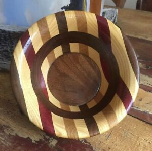 Beautiful Vintage Wood Bowl With Marquetry Inlay Signed By Randy Lord