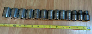 Usa Made Craftsman 1 2 Drive Sae Inch Socket Set Easy Read Laser Etched 13pc