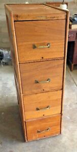 Antique Solid Wood File Cabinet 4 Drawer By Wagemaker Grand Rapids Mi 1910