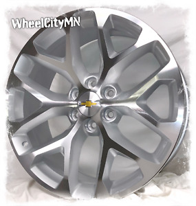 24 Inch Silver Machine Snowflake Chevy Tahoe Ltz 5668 Oe Replica Wheels 6x5 5