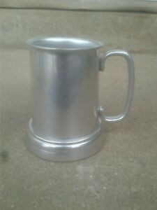 Polished Silver Pewter Metal 4 5 Tall Mug Stein Cup Tankard With Glass Bottom