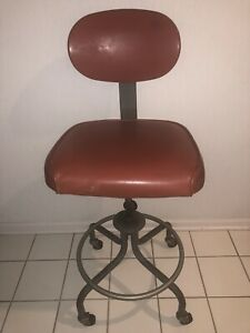 Vintage Industrial Inter Royal Adjustable Drafting Chair Stool