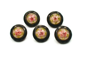 Lot Of 5 Beautiful Faceted Glass And Cased Glass Rose Buttons Early 1900s