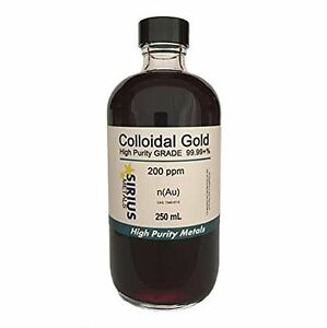 True Colloidal Gold no Chemicals 250 Ml Of 200 Ppm In Glass Bottle