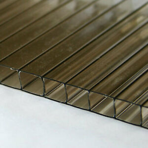 1 4 6mm Polycarbonate Twin Wall 24 x12 Bronze Tinted Sheet Azm