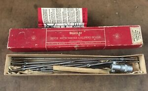 Vintage Starrett No 124 Inside micrometer with Handle Rods And Wrench 2 To 12