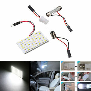 5pcs White 48 Smd Cob Led T10 4w 12v Car Interior Panel Light Dome Lamp Bulbs Aa