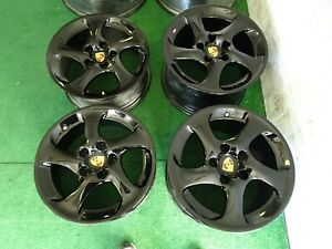 Porsche 996 Turbo Twist Factory Oem 18 Wheels Rims Gloss Black