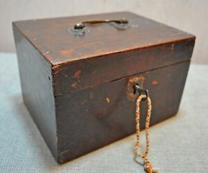 Original Old Antique Hand Crafted Wooden Storage Box With Lock And Key