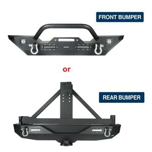 For 07 18 Wrangler Jeep Jk jku Front Bumper Rear Bumper W Tire Carrier