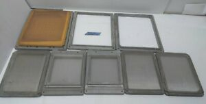 Lot Of 8 Solid Aluminum Frames Silk Or Stainless Screens 3 Different Sizes