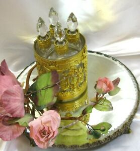 Antique Unsigned Baccarat Crystal Gilt Ormalu Vanity Set Of 4 Scent Bottles