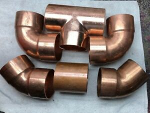 Lot Of 6 4 Copper Plumbing Pipe Fittings