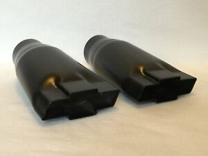 Flat Black Over Stainless 2 5 Chevy Bowtie Exhaust Tips Pair