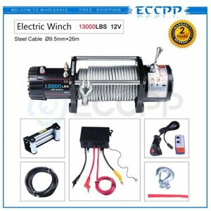 Eccpp 13000lbs Electric Winch Steel Cable Off Road Jeep Truck Towing Trailer 4wd