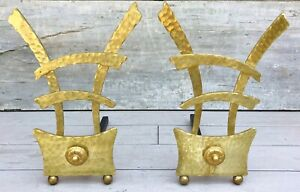 Vintage Pair Mid Century Chinese Style Modernist Hammered Brass Andirons C 1950