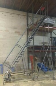 Tri arc 14 Step 140 High Top Platform Rolling Ladder Staircase With Handrail