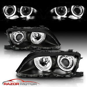 Dual Led Halo 2002 2003 2004 2005 Bmw E46 3 Series Black Projector Headlights