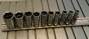 Snap On Tools 110tmsy 10 Pc 1 4 Dr 6 Pt Sae Semi Deep Socket Set 3 16 9 16