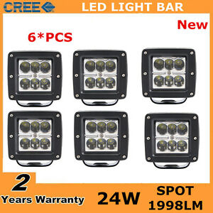 6x Square 3inch 24w Led Work Light Spot Pods Fog Off Road Suv Ute 4wd 3x3 Truck