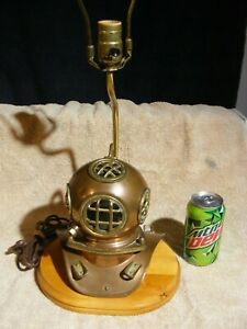 Vtg Brass Copper Mini Replica Diving Helmet 7 H Table Lamp Gc Free Ship