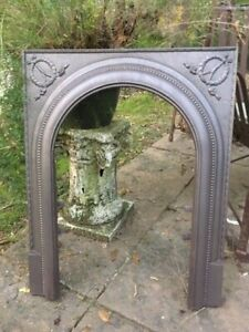 Vintage Cast Iron Fireplace Surround Arched With Wreath Motif