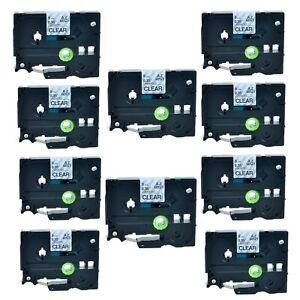 10pk Tz Tze 121 Black On Clear Label Tape For Brother P touch Pt 11q 3 8 9mm