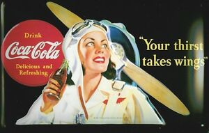 Coca Cola Wings Metal Sign Signboard 3D Embossed Arched Tin Sign 20 x 30 CM