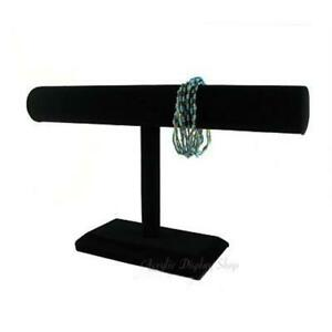 6 X Black Velvet 12 Long Bracelet T bar Display Stand