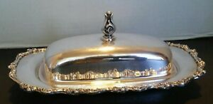 Vintage Wilcox Silverplate American Rose Covered Butter Dish W Glass Insert Look