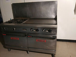 60 Vulcan Commercial Kitchen Gas Range Flat Top 4 Stove Burners Double Ovens