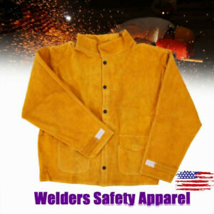 Leather Welding Safety Apparel Welder Jacket Coat Cutting Handling Work Clothes