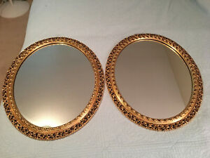 Pair Large Oval Reticulated Gold Gilt Wood Frame Mirrors 32 X 26