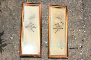 2 Pcs Antique Chinese Japanese Ink Watercolour Painting Birds On Paper Signed