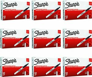Sharpie 36701 Retractable Permanent Markers Fine Point Black 9 Boxes Of 12