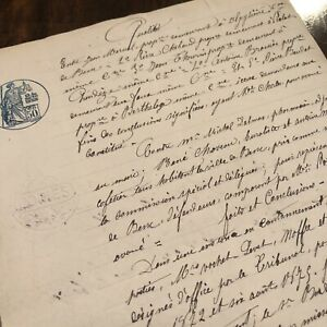 Authentic Antique 1800 S French Document European Paper Legal Seal European Old
