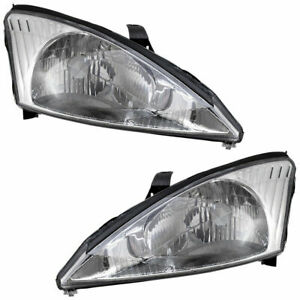 Fit 2000 2001 2002 Ford Focus Headlight Right Left W Chrome