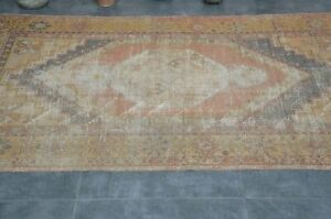 Oriental Antique Wool Oushak Carpet Hand Knotted Turkish Tribal Vintage Area Rug