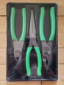 new Snap On Pl307acf G Green 3 Pc Pliers Set Free Priority Shipping
