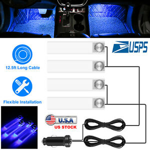 Blue Decorative Light Car Lights Charge 4 Led Interior Floor Decoration Lamp 12v