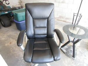 Office Furniture Black Desk Chair High Back Grey Metal Accented Arms Swivel