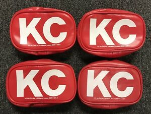 Vintage Nos Kc Hilites 5503 Red Rectangle Light Covers Set Of 4 New